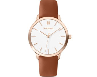 Brown Leather Watch for Women, Leather Anniversary Gift for Her, Womens Watch Rose Gold, Rose Gold Watch, Girlfriend Gift Ideas, Watches