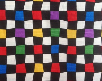 Japanese - Sevenberry - multicolor checkered black and Red - cotton fabric by 50cm (110 x)