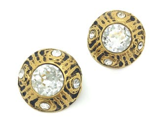 Stunning Original VINTAGE CHANEL 1970-80s CRYSTAL Gilt Clip Earrings So Classy !