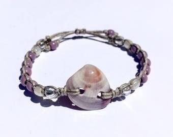PURPLE VENUS Adjustable Knott Seashell Bracelet