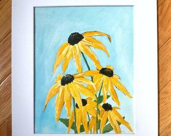Black eyed susans, acrylic painting, original artwork, acrylic on paper, original painting, artwork on paper, small painting, floral artwork