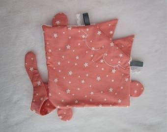 Soft flat cat crew cotton and minkee blanket