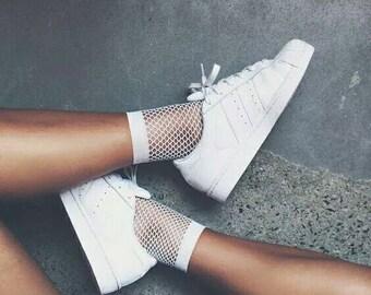 White Fishnet High Socks