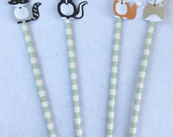 Woodland critters straws