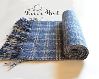 Handwoven wool scarf for men, women - Blue long scarf - Christmas gift for men - Hand woven scarf - Winter autumn scarf - Gift for her, him
