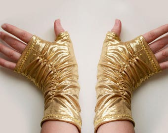 Gold Rush - Fingerless Gloves - Sparkle and Shimmer Stretch Hand Warmers - One-of-a-Kind - Handmade in Kansas, USA