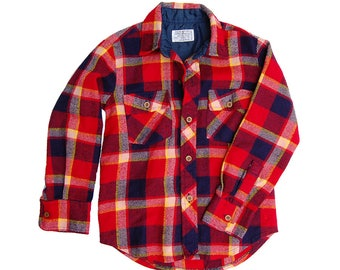 Vintage Button Down Flannel Boys SIze 7 | Camping Flanel Red and Blue Plaid