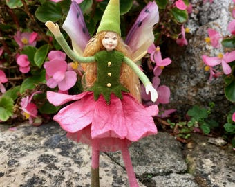 "Fae Folk® Fairies - DAHLIA - Garden Fairy. Bendable, posable 5"" soft doll can sit, stand, or hang."