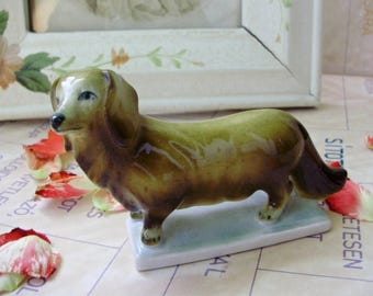 Vintage Hungarian Zsolnay porcelain stauette,figurine,dog/puppy,WIRE HAIRED DACHSHUND hand painted,signed