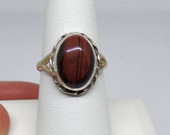 Tiger's Eye Ring, Sterling Silver Tigers Eye Ring, Tiger Eye, Tigers Eye Jewelry, Under 75, Red Tigers Eye, Ladies Tiger Eye Ring, 1244
