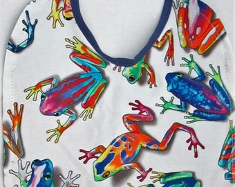 FROGS! Colorful FROGS! Baby Bib 100% Cotton FUN! Reversible!
