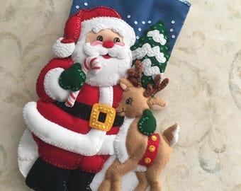 "18"" Santa & Reindeer Bucilla Christmas Stocking"