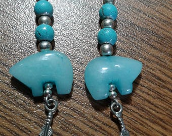Bear Blue Stone and Feather Drop Dangle Earrings