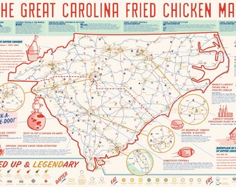 Carolina Fried Chicken Map // POSTER