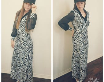 70's Floral Maxi Dress. Black and Silver. V Neck. Sheer Long Sleeves. Polyester Velvet. Size Small.