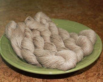 Fawn Suri Alpaca with 20% Merino wool, sport or worsted weight yarn