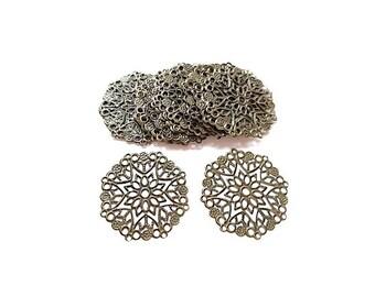 50 print hollow round flower engraved Antique Bronze filigree connectors