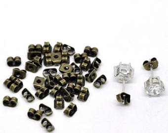 50 end caps for earring color bronze