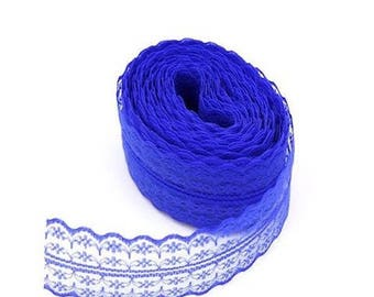 1 45 mm dark blue embroidered tulle lace trim Ribbon