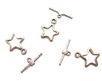 5 sets Silver Star toggle clasps
