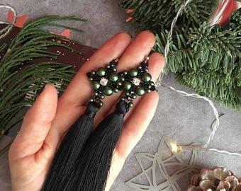 Black and green tassel earrings with Swarovski pearls