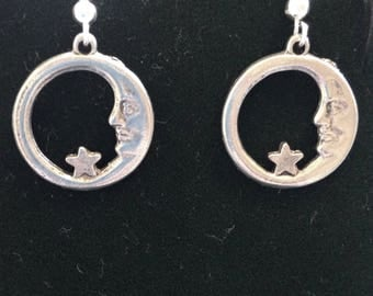 The Half Moon and Star Circle Silver Tone Earrings