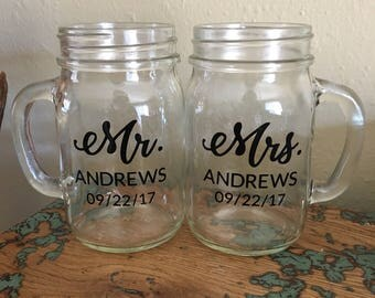 custom mr and mrs mason jar glasses mr u0026 mrs glasses - Mason Jar Glasses