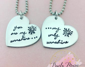 You are my sunshine-- mother daughter necklace sets