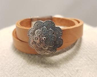 Leather bracelet; Tan leather bracelet; Leather choker;  Flat leather bracelet; Wrap leather bracelet;  Flower bracelet; Silver bracelet
