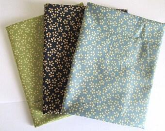 Set of 3 coupons 45 x 35 cm - reversible sakura - green/Navy/Blue