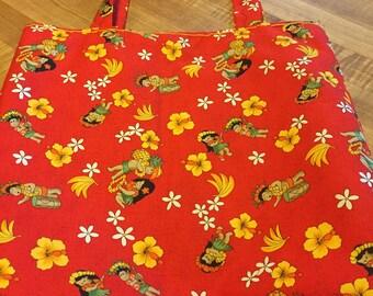 "Hawaiian Fabric Bag with Message ""Aloha"""