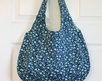 Handmade, Roomy, Reversible, Machine-washable Tote Bag in Blue Florals.