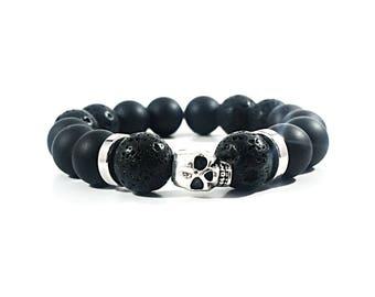Onyx Skull~Handmade Bracelet~Black Onyx Beaded Bracelet~Lava Bead Bracelet~Silver Skull Bracelet~Mens Stretch Bracelet~Womens Bead Bracelet
