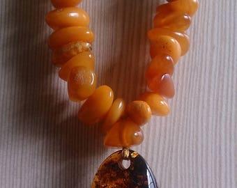 Natural Egg yolk amber irregular form beaded necklace with Baltic amber pendant cognac
