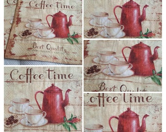"4 x single paper decoupage napkins ""Coffee Time "" VINTAGE, crafts supply handmade products scrapbooking paper, decopatch, PAPER source New"