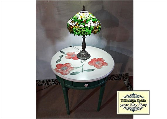 Round wood table, Round wood coffee table, Round wood end table, 65 cm round wood table, Round wood table painted, Round wood table green
