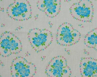 Vintage Valentines Day Heart Fabric, Floral Crinkle Crepe Fabric, Blue Rose Heart Crepe Fabric, Blue Pink Heart Novelty Fabric, 40s, 2 Yards