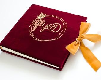 Marsala Velvet Wedding Guest Book custom Embroidery Monogram FREE SHIPPING