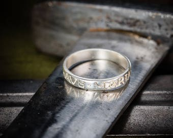 """Ring with """"Ave Maria Gracia Plena"""" engraved"""