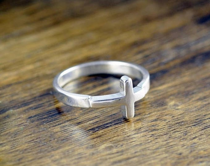 10% off SALE Cross Ring Sterling Silver - Sideways Cross Ring - Confirmation Jewelry - Crucifix Ring - Womens Rings - Gift For Her - Stateme