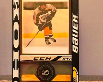 Picture and Puck Display 8 x 10 (Made with hockey sticks, hockey room decor, hockey player gift, hockey gift, hockey coach gift)