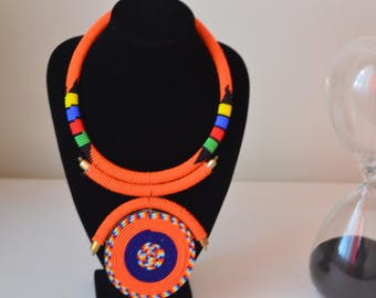 African Maasai Beaded Necklace |Orange Necklace |Pendant  Necklace |Tribal Ethnic Necklace |Elegant Necklace |Bead Necklace |Gift for Her