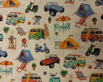 Holiday Fun Fabric 100% Cotton Material By Metre Family Summer Tents Camping Camper Van Scooter Curtains Patchwork Cushions Bags Bunting