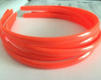 10pieces orange colors plastic hair headband covered 8mm width wide