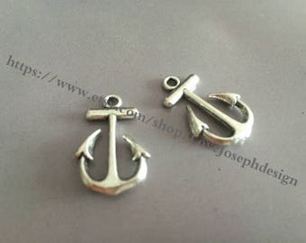 wholesale 100 Pieces /Lot Antique Silver Plated 15mmx23mm Anchor Charms (#046)