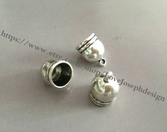 wholesale 50pieces antique silver metal 15mmx11mm(inner hole 9mm)tassel caps/end caps/cord caps/cord findings (#064)