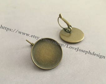 Wholesale 20 Pieces /Lot Antique Bronze Plated 20mm cabochon French Earwires Earring Base Setting Blanks (#0372)