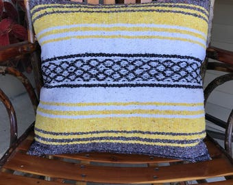 "18x18"" pillow cover made from Mexican blanket in mustard yellow, black, white, gray"