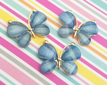 4pcs- 30mm Decoden blue butterfly cabochon gold alloy acrylic flatbacks pendant charm accessories kawaii jewelry supplies phone case deco