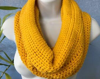 Crochet Yellow Cowl ~ Sunflower Yellow Hand Crocheted Scarf ~ Yellow Infinity Scarf